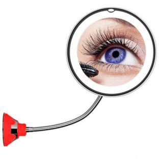 Косметическое зеркало на вакуумной присоске и подсветкой My Fold Jin Ge Mirror, Цвет держателя: Красный