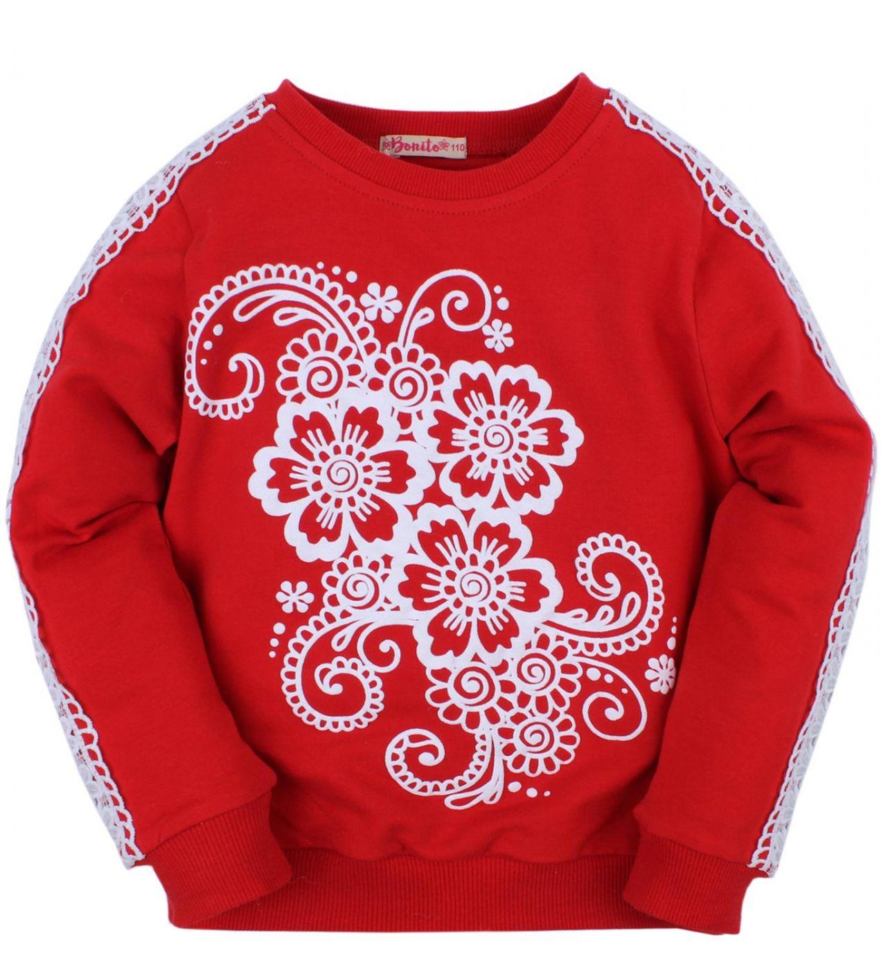"""Джемпер для девочек Bonito """"ornament"""" красный"""
