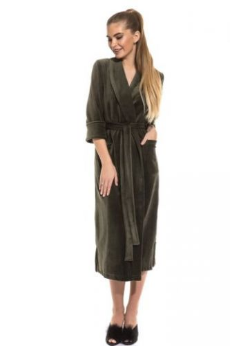 Велюровый халат удлиненный оливковый