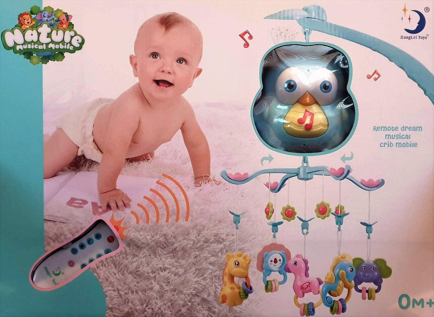 """HL2018-82 Мобиль на детскую кроватку с проектором и пультом """"Мудрый совенок"""""""