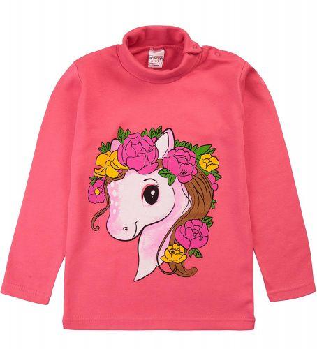 """Водолазка для девочек Bonito kids 1-4 года """"Пони"""" малиновая"""