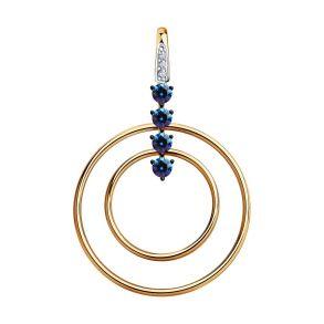 Подвеска из золота с бесцветными и синими Swarovski Zirconia 81030150 SOKOLOV