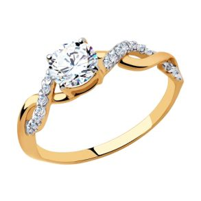 Кольцо из золота с фианитами Swarovski 81010464 SOKOLOV