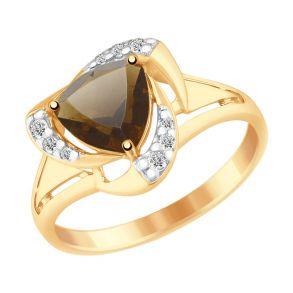Кольцо из золочёного серебра с раухтопазом и фианитами 92011493 SOKOLOV