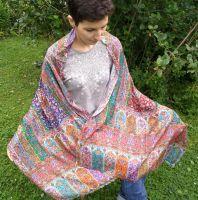 Индийский шарф палантин из шелка с шерстью с необычным орнаментом. Купить в Москве, интернет магазин