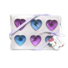 Подарочный набор гелевых свечей Сердца, 6 шт, Цвет: Сиреневый/Голубой