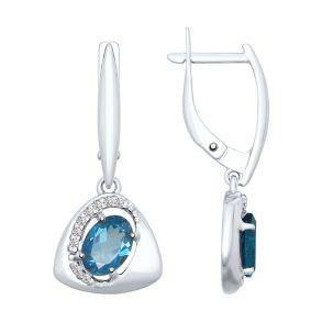 Серьги из серебра с синими топазами и фианитами 92021654 SOKOLOV