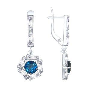 Серьги из серебра с синими топазами и фианитами 92021882 SOKOLOV