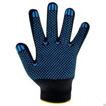 Перчатки ХБ с ПВХ , 60 гр. Люкс черные .