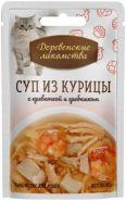 Деревенские лакомства пауч для кошек суп из курицы с креветкой и гребешком 35г