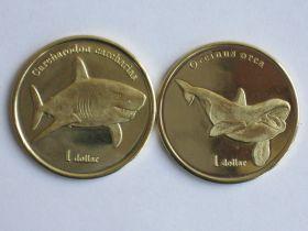 Морские обитатели (Акула и Касатка)1 доллар Муреа 2019