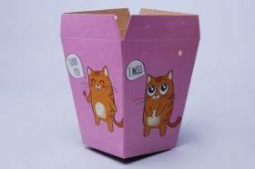 Кашпо для букета 15*12*9 Котята на розовом