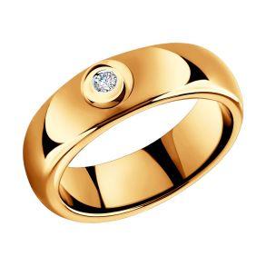 Керамическое кольцо с золотом и бриллиантом 6015082 SOKOLOV
