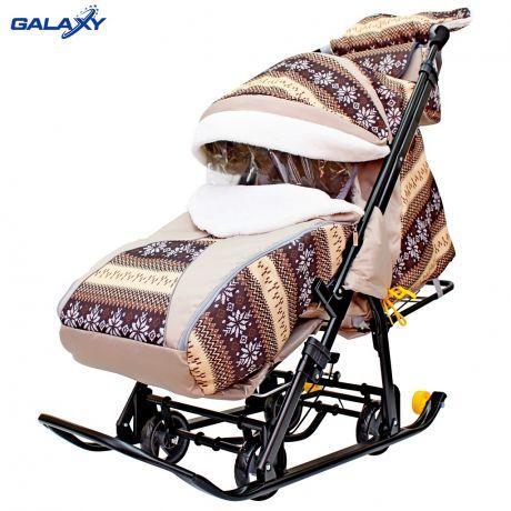 Санки-коляска SNOW GALAXY LUXE на больших мягких колесах+сумка+муфта