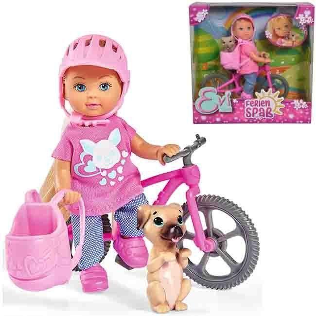 ЕВИ Кукла на велопрогулке с собачкой 12 см