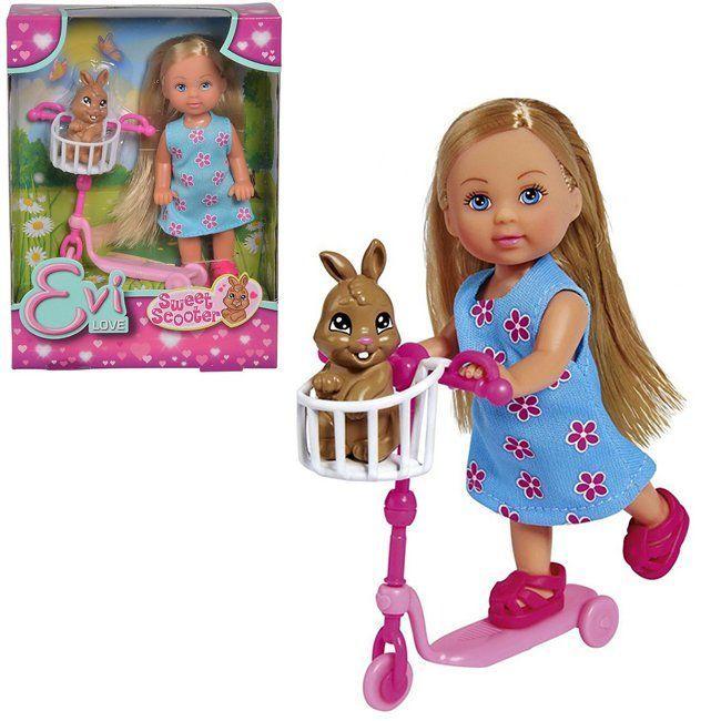 ЕВИ Кукла на самокате с кроликом 12 см