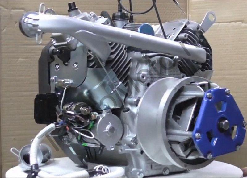 Двигатель на Буран 24 л.с., двухцилиндровый, 4-х тактный с электростартером, вариатором, коленом глушителя, электропроводка, катушка освещения 240 Ват
