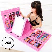 Набор для рисования со складным мольбертом в чемоданчике 208 предметов (цвет розовый)_1