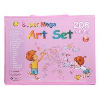 Набор для рисования со складным мольбертом в чемоданчике 208 предметов (цвет розовый)_2