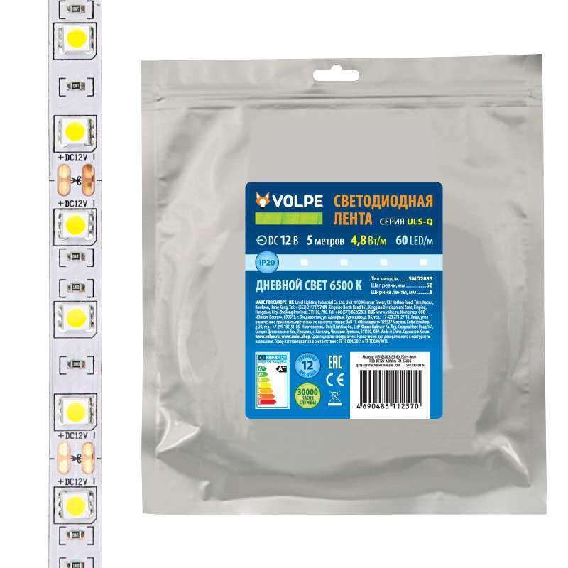 Светодиодная лента Volpe (UL-00004537) 4,8W/m 60LED/m 2835SMD холодный белый 5M ULS-Q320 2835-60LED/m-8mm-IP20-DC12V-4,8W/m-5M-6500K