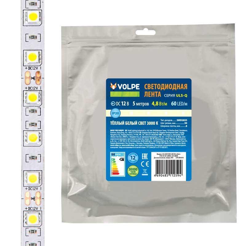 Светодиодная лента Volpe (UL-00004538) 4,8W/m 60LED/m 2835SMD теплый белый 5M ULS-Q320 2835-60LED/m-8mm-IP20-DC12V-4,8W/m-5M-3000K