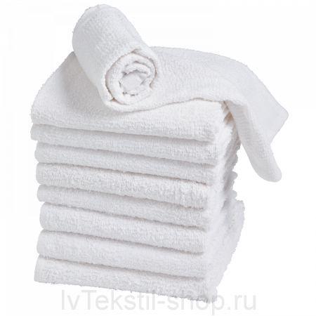 Гладкокрашеное полотенце белое 50х100