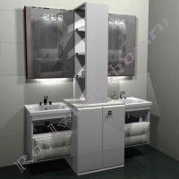 """Тумба для ванной под стиральную машину c двумя раковинами """"Лидс- double"""" белая"""