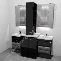 """Тумба для ванной под стиральную машину c двумя раковинами """"Лидс- double"""" черная"""