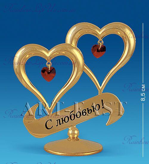 """Фигурка сердца с любовью с камнями """"Swarovski"""""""