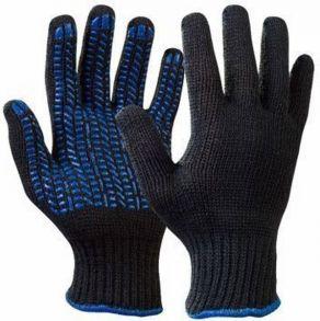 Перчатки Х/Б 5-ти нитка , черные с ПВХ