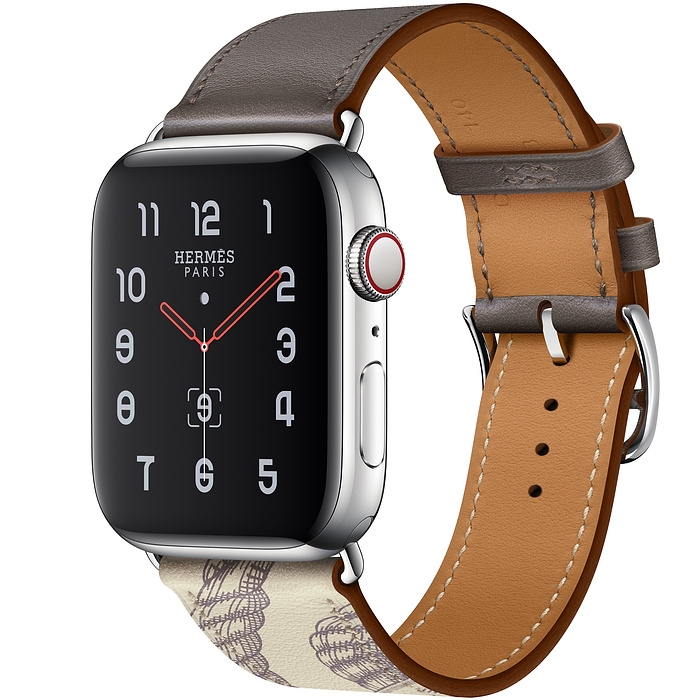 Apple Watch Hermes Series 5 44mm Stainless Steel GPS + Cellular Etain/Beton with Leather Single Tour