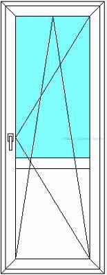 Балконная дверь  стеклянная/сэндвич с горизонтальной перемычкой посередине