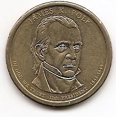 Джеймс Нокс Полк (1845-1849) 11 президент США 1 доллар США  2009  Монетный двор Р