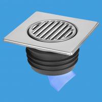 Насадка (150ммх150мм) сливная металлическая (полированная нержавейка) с обратным клапаном и функцией «сухой гидрозатвор» (силиконовый клапан), фильтрующей сеткой, прокладкой; выход вертикальный Дн=90/110мм; цвет-хром
