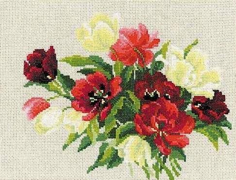 Набор для вышивания крестом Тюльпаны №1065 фирма Риолис