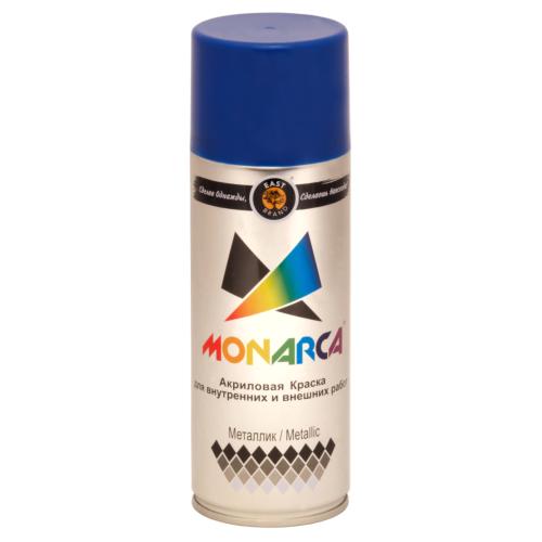 """Monarca Аэрозольная краска """"Металлик"""", название цвета """"Блестящий голубой"""", глянцевая, объем 520мл."""