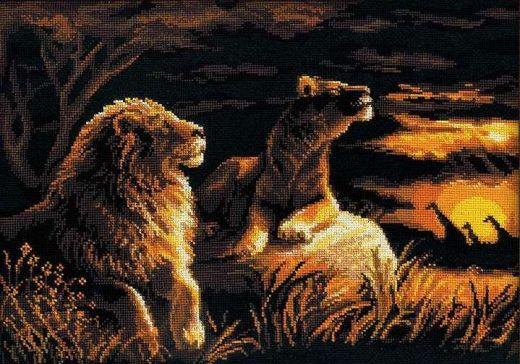 Набор для вышивания крестом Львы в саванне №1142 фирма Риолис