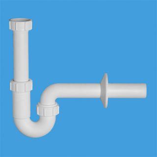 """сифон трубный Р-образный (1 1/4""""х32мм) без выпуска с отводной трубой D32мм и отражателем; выход компрессионный Ду=32мм"""