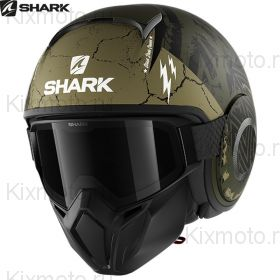 Шлем Shark Street Drak Crower, Черный матовый с зеленым