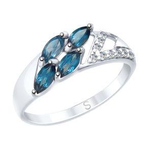Кольцо из серебра с синими топазами и фианитами 92011642 SOKOLOV