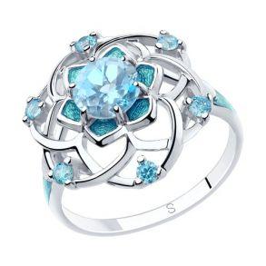 Кольцо из серебра с эмалью и топазом и фианитами 92011810 SOKOLOV