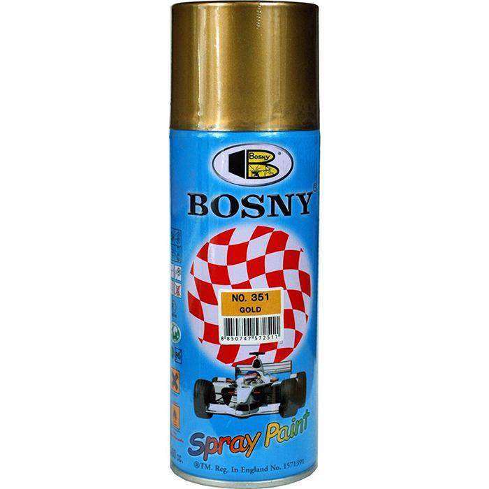 """Bosny Акриловая аэрозольная краска """"Металлик"""", название цвета """"Золотистый"""", глянцевая, объем 520мл."""
