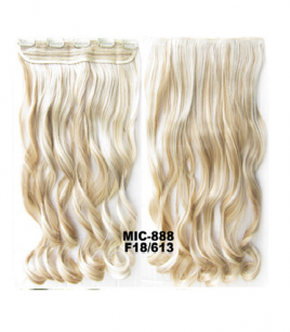 Искусственные термостойкие волосы на заколках на трессе волнистые №F18/613 (55 см) - 1 тресса, 100 гр.