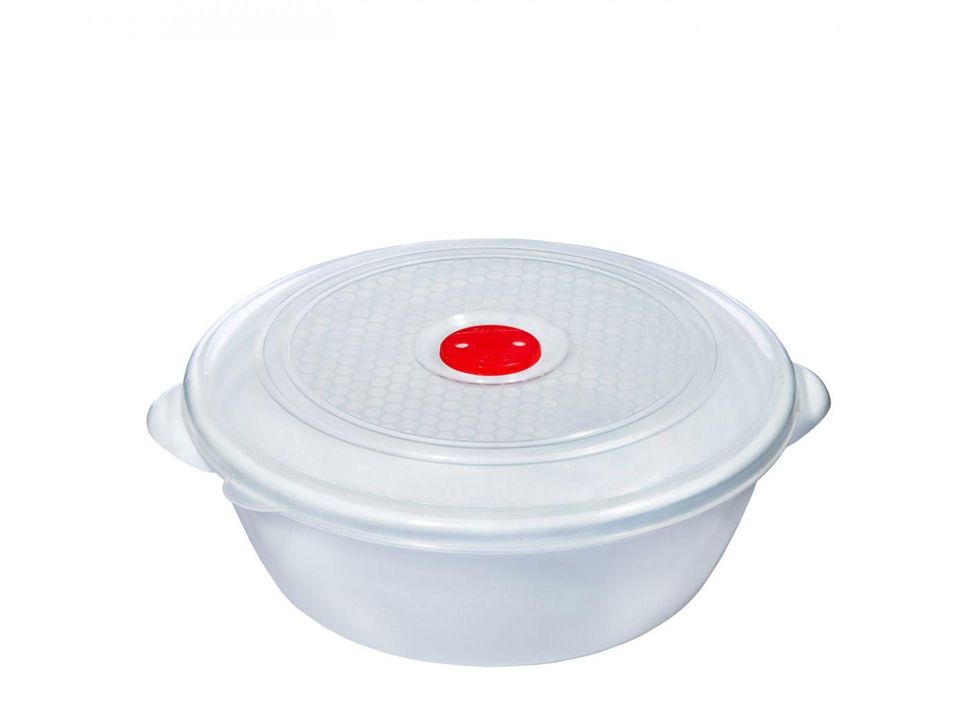 Контейнер для СВЧ 2 литра c крышкой и клапаном Эльфпласт белый круглый 22 см