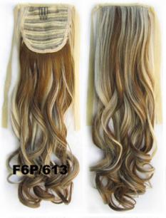 Искусственные термостойкие волосы - хвост волнистые №F6P/613 (55 см) -  80 гр.
