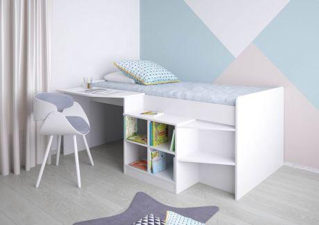 Кровать-чердак детская Polini Simple 4000 со столом и полками Белый