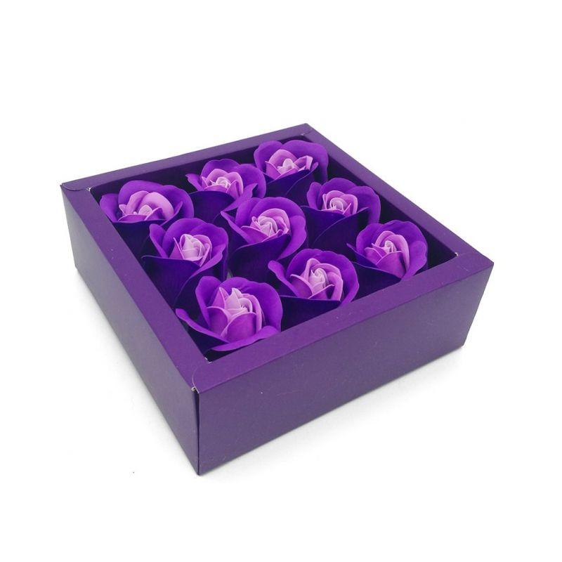 Мыльные розы в коробке 9 шт (цвет фиолетовый градиент)