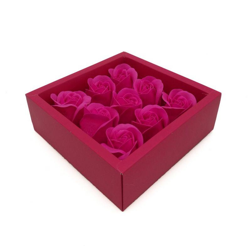 Мыльные розы в коробке 9 шт (цвет розовый)