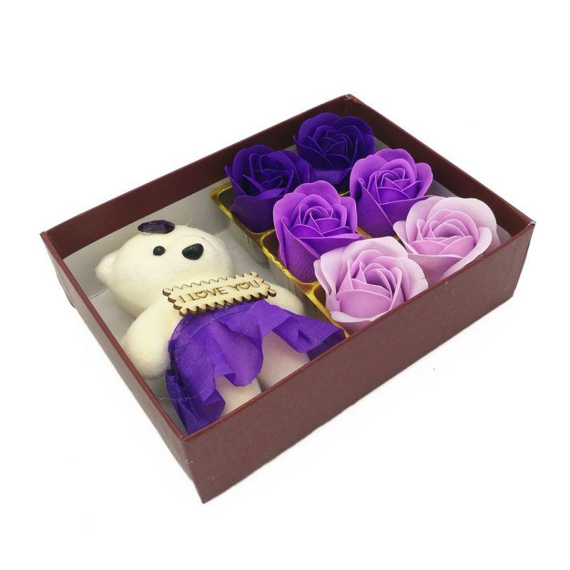 Мыльные розы 6 шт в коробке с мишкой (цвет фиолетовый микс)