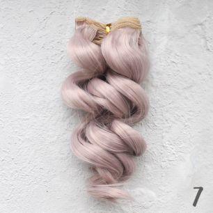 Трессы для создания причеcки куклам - Волна 15 СМ пепельно-розовые